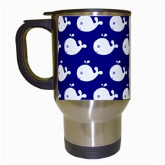 Cute Whale Illustration Pattern Travel Mugs (white)