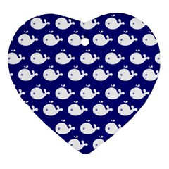 Cute Whale Illustration Pattern Heart Ornament (2 Sides)