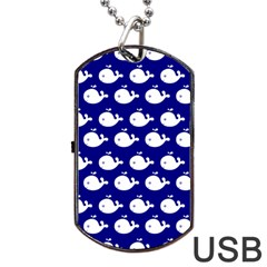 Cute Whale Illustration Pattern Dog Tag USB Flash (One Side)