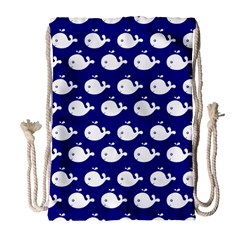 Cute Whale Illustration Pattern Drawstring Bag (large)