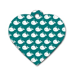 Cute Whale Illustration Pattern Dog Tag Heart (one Side)