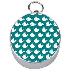Cute Whale Illustration Pattern Silver Compasses