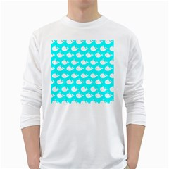 Cute Whale Illustration Pattern White Long Sleeve T-Shirts