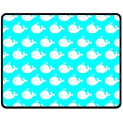 Cute Whale Illustration Pattern Double Sided Fleece Blanket (Medium)