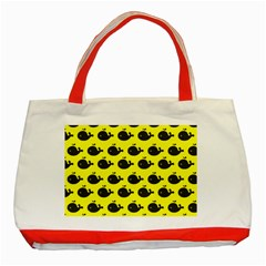 Cute Whale Illustration Pattern Classic Tote Bag (red)
