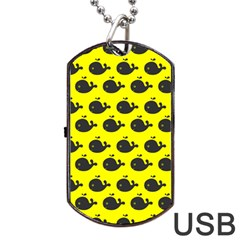 Cute Whale Illustration Pattern Dog Tag USB Flash (Two Sides)