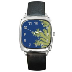 Blue And Green Design Square Metal Watches