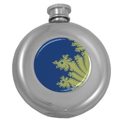 Blue And Green Design Round Hip Flask (5 Oz)