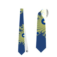 Blue And Green Design Neckties (one Side)