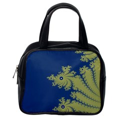 Blue and Green Design Classic Handbags (One Side)