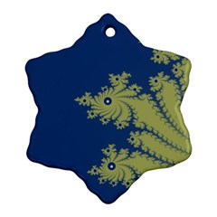 Blue And Green Design Snowflake Ornament (2 Side)