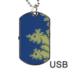 Blue and Green Design Dog Tag USB Flash (Two Sides)