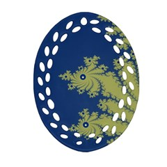 Blue And Green Design Oval Filigree Ornament (2 Side)