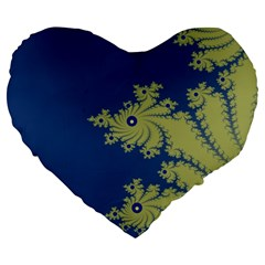 Blue And Green Design Large 19  Premium Heart Shape Cushions