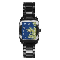 Blue And Green Design Stainless Steel Barrel Watch