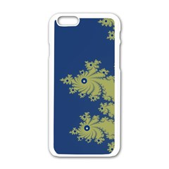 Blue and Green Design Apple iPhone 6 White Enamel Case