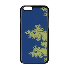 Blue and Green Design Apple iPhone 6 Black Enamel Case