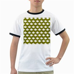 Cute Whale Illustration Pattern Ringer T Shirts