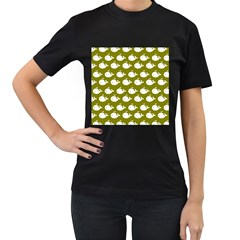 Cute Whale Illustration Pattern Women s T Shirt (black) (two Sided)
