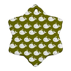 Cute Whale Illustration Pattern Snowflake Ornament (2 Side)