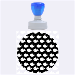 Cute Whale Illustration Pattern Rubber Round Stamps (large)