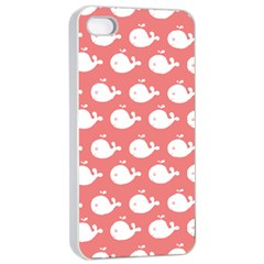 Cute Whale Illustration Pattern Apple iPhone 4/4s Seamless Case (White)