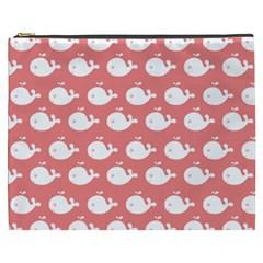 Cute Whale Illustration Pattern Cosmetic Bag (xxxl)