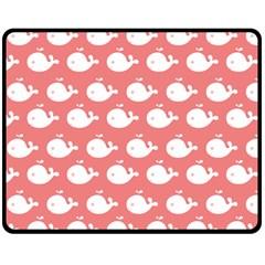 Cute Whale Illustration Pattern Double Sided Fleece Blanket (Medium)