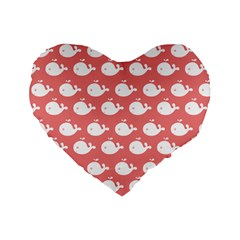 Cute Whale Illustration Pattern Standard 16  Premium Flano Heart Shape Cushions