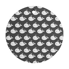 Cute Whale Illustration Pattern Round Ornament (two Sides)