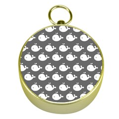Cute Whale Illustration Pattern Gold Compasses
