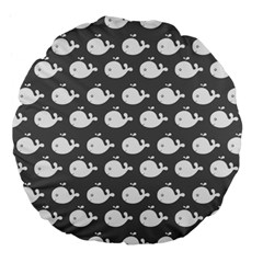 Cute Whale Illustration Pattern Large 18  Premium Flano Round Cushions