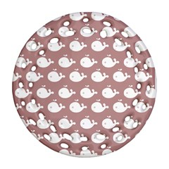 Cute Whale Illustration Pattern Round Filigree Ornament (2Side)