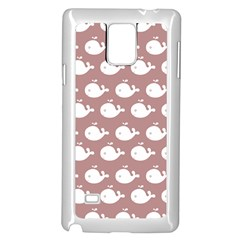 Cute Whale Illustration Pattern Samsung Galaxy Note 4 Case (White)