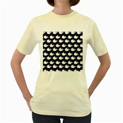 Cute Whale Illustration Pattern Women s Yellow T Shirt