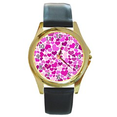 Heart 2014 0931 Round Gold Metal Watches