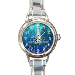 Clef With Water Splash And Floral Elements Round Italian Charm Watches
