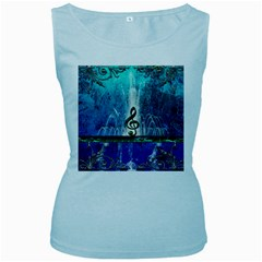 Clef With Water Splash And Floral Elements Women s Baby Blue Tank Tops