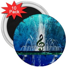 Clef With Water Splash And Floral Elements 3  Magnets (10 Pack)