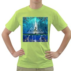 Clef With Water Splash And Floral Elements Green T Shirt