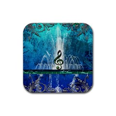 Clef With Water Splash And Floral Elements Rubber Square Coaster (4 Pack)