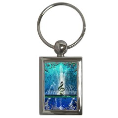 Clef With Water Splash And Floral Elements Key Chains (rectangle)