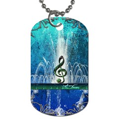 Clef With Water Splash And Floral Elements Dog Tag (two Sides)