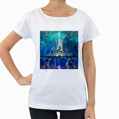 Clef With Water Splash And Floral Elements Women s Loose Fit T Shirt (white)