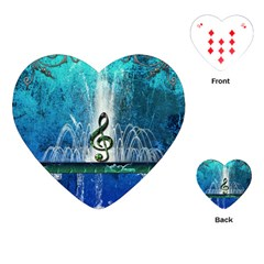 Clef With Water Splash And Floral Elements Playing Cards (heart)