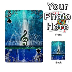 Clef With Water Splash And Floral Elements Playing Cards 54 Designs