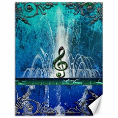 Clef With Water Splash And Floral Elements Canvas 12  X 16