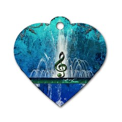 Clef With Water Splash And Floral Elements Dog Tag Heart (two Sides)