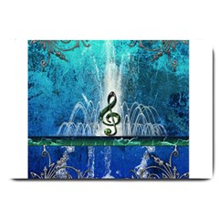 Clef With Water Splash And Floral Elements Large Doormat