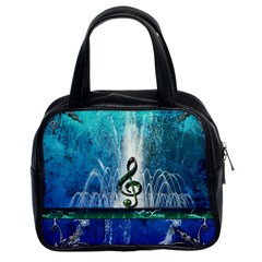 Clef With Water Splash And Floral Elements Classic Handbags (2 Sides)